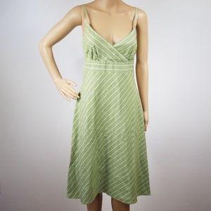 J. Crew | Green Striped Vneck Midi Dress size 8 D4